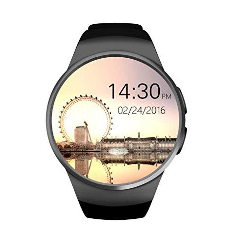 Reloj Inteligente Bluetooth KW18 Con Pantalla Táctil Y Monitor De Ritmo Cardíaco Reproducción De Música Soporte Smart Health Watch Tarjeta SIM TF / SD Para Iphone Samsung Huawei Gear S2 Android Multi Idiomas,Black