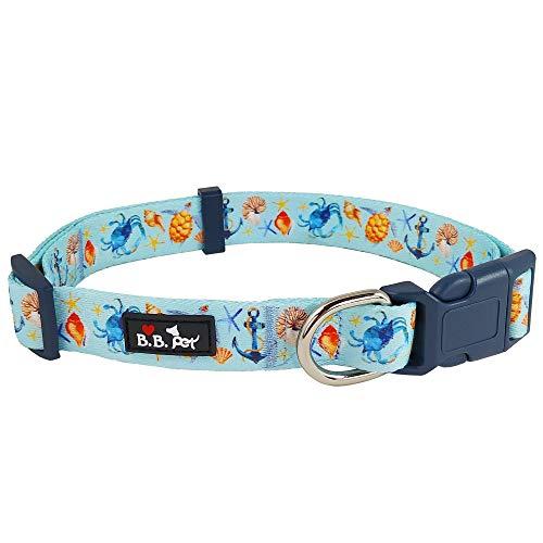 Bestbuddy Pet Sea Life Krabbenschildkröte Hellblau Anker Durable Nylon Designer Fashion Dog Halsband Trendy Bequem Verstellbares Hundehalsband mit Schnalle BBP008, blau, 18