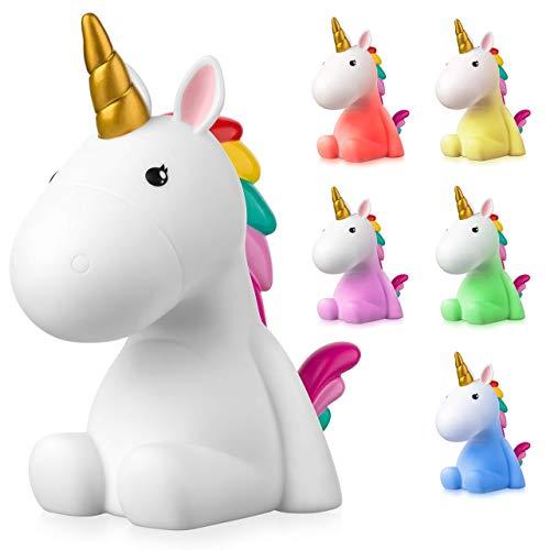 Sweet Ponies Luz Nocturna Infantil LED Unicornio con la Batería Recargable, Quitamiedos...
