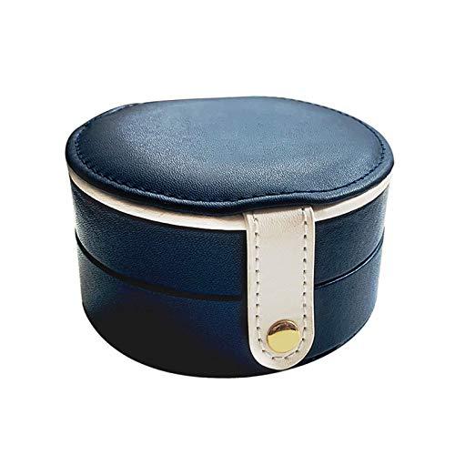 CMXUHUI Exquisito, a la moda, generoso, digno de posses Joyero de viaje para mujer, organizador de joyería de piel sintética para anillos, pendientes, collares, caja de joyería (color: azul)