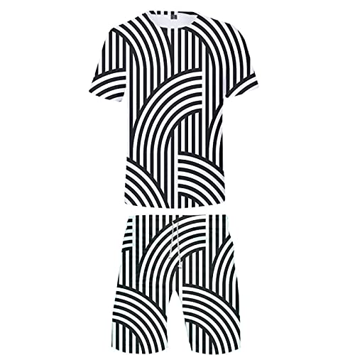Camisetas de Manga Corta Informales Impresas en 3D Unisex Pantalones de Playa de Verano para Hombre Bañador con Cordón Traje de Vacaciones(Blanco 3,XL)