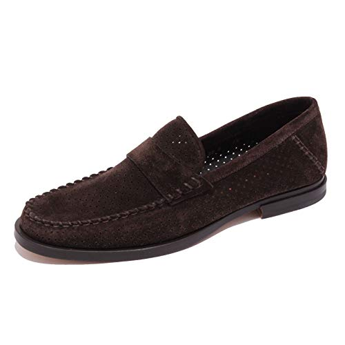 Santoni 5281AB Mocassino Uomo forato Perforated Suede Brown Loafer Shoe Men [7]