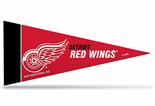 Rico NHL Detroit Red Wings 8-Piece 4-Inch by 9-Inch Classic Mini Pennant Décor Set