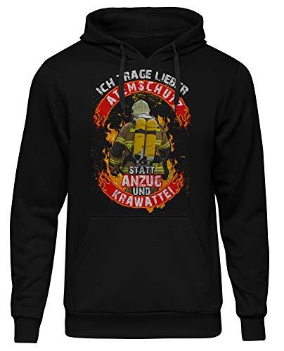 Uglyshirt89 Feuerwehr Männer Herren Kapuzenpullover | Papa Held Hero FFW 112 Feuerwehrmann Freiwillige Kameradschaft Logo | M4 (XL)
