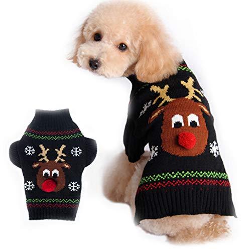 PJDDP Hund Pullover Weihnachten Karikatur-Ren-Haustier-Katzen-Winter-Strick Warme Kleidung, Halloween Thanksgiving Weihnachten Kostüme Für Welpen-Katze,L