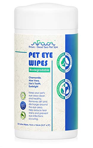Arava Pet Eye Wipes - for Dogs Cats Puppies & Kittens - 100 Count – Natural - 100% Biodegradable - Removes Dirt Crust and Discharge - Prevents Tear Stain Infections & Irritations - Soft & Gentle