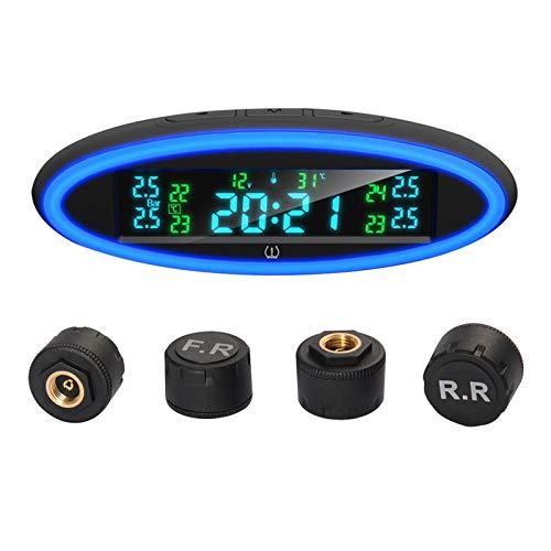 KKmoon Sistema de Monitoreo de Presión de Neumáticos con Lámpara de Atmósfera,Pantalla LCD en Tiempo Real Alertas de Presión y Temperatura para Coche(External)