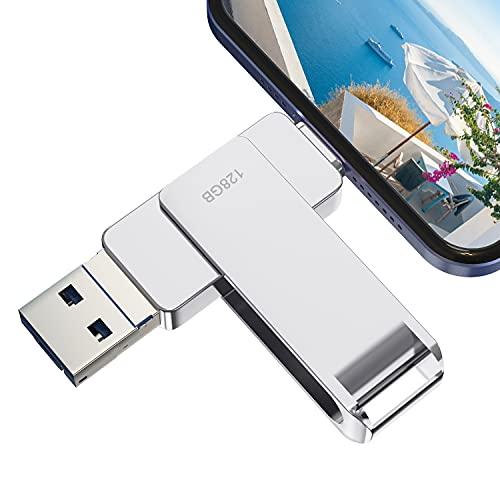 Y-DiskPendrive 128 GB Phone, Pen Drive USB 3.0 Photo Stick, 4 en 1 Memoria USB C Flash Drive 128 GB Typo C para Movil iOS Android Smartphone Computadoras Laptops