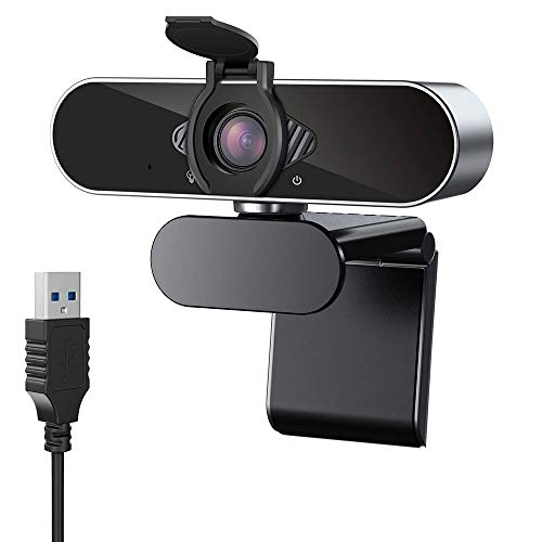 CASE U HW1 1080P Webcam with Microphone and Privacy Cover; 360° Rotation Plug and Play Pro Streaming USB 2.0 HD for Video Calling/Conferencing; Online Teaching or Gaming- Silver