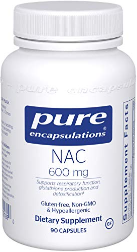 Pure Encapsulations NAC 600 mg | N-Acetyl Cysteine Amino Acid Supplement for Lung and Immune Support, Liver, Mucus Relief, Antioxidants, and Free Radicals* | 90 Capsules