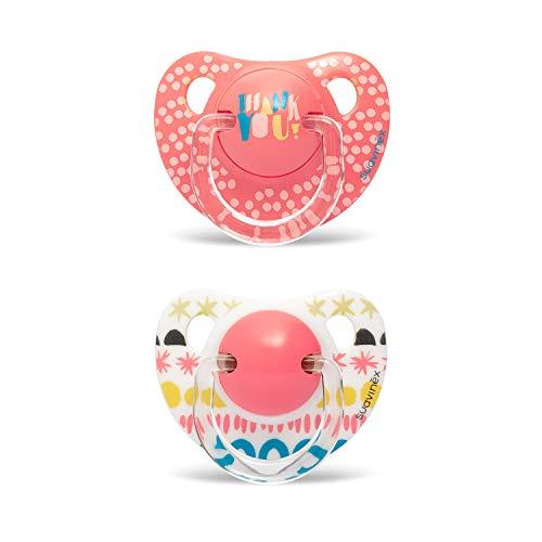 Suavinex – Pack 2 chupetes para bebés 6-18 meses. con tetina anatómica de silicona. 0% Bisphenol. diseño Thank You rosa