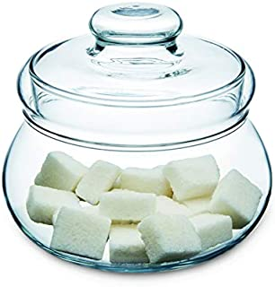Simax Clear Glass Sugar Bowl With Lid | Sweetener Dispenser For Tea and Coffee – Great for Entertaining – Durable Borosilicate Glass – Dishwasher Safe – Made in Europe – Beautiful 16 Ounce Sugar Bowl