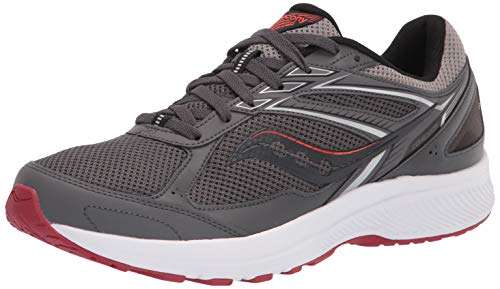 Saucony Men's Cohesion 14 Road Running Shoe, Charcoal/Red, 10