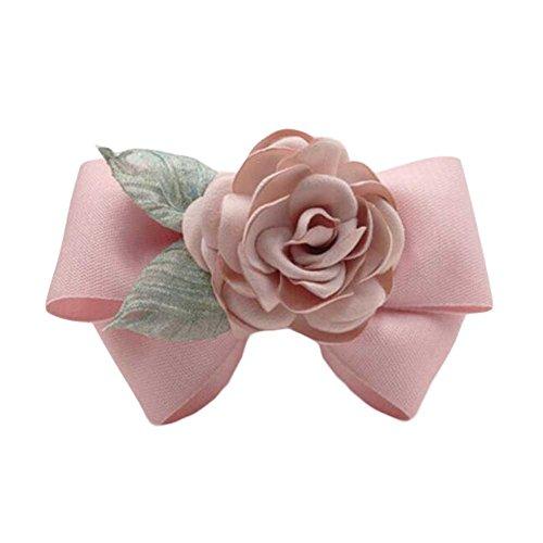 Pink Hair Ornaments Tissu à la main Barrettes Rose Hair Barrette Bowknot Epingle à cheveux