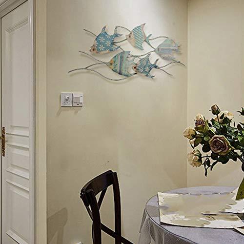 Decoración de pared de peces de metal para sala de estar - Decoración colgante náutica de hierro forjado en 3D, estilo costero vintage, escultura de arte de Sea Life Ocean Home,Small Size 32x15 inch
