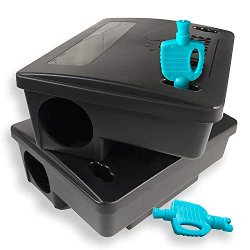 Kat Sense Rat Bait Station Traps, Reusable Humane Rodent Box Against Mice Chipmunks N Squirrels That Work, Smart Tamper Proof Cage House to Secure Bait Block and Pellets, Mouse Bait Station Outdoor