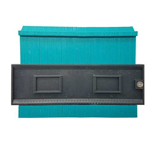 Calibre de Perfil Irregular para baldosas Laminado para Dar Forma a los Bordes, Regla de Madera, carpintería (Negro y Verde)