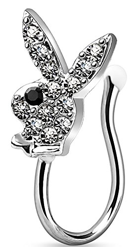 Nose Clip Clip On Non Piercing Nose Ring CZ Paved Licensed Playboy Bunny