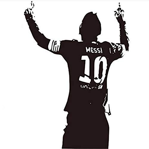Namefeng Wandaufkleber Messi Fußball Fußballstar Home Kids Decor Messi Silhouette PVC Wand Fußball Liebhaber Wand 57X80 cm
