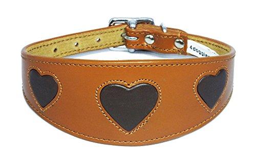 Tan Leder Halsband mit Braun Herzen Wildleder Rückseite 3Größen für Windhunde