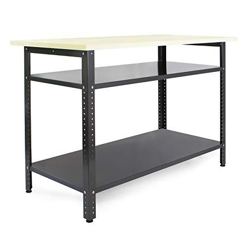 Werkbank 120x60x85cm Werktisch Werkstatttisch Packtisch Arbeitstisch Tisch Werkstatt Lager Keller