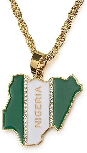 Inveroo Nigeria mapa bandera colgante de diamantes de imitación collares para mujeres hombres joyería nigeriana 50 cm