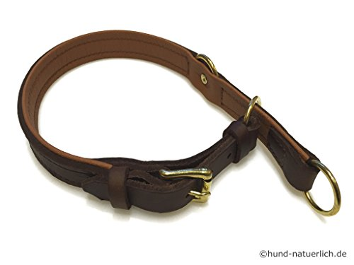 Zugstopp Lederhalsband für Hunde Braun, Messing Gr. 55