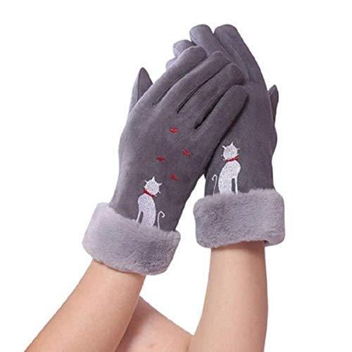 Guantes de moda y elegantes de la pantalla táctil de las mujeres de invierno calor dedo completo arco bordado guantes