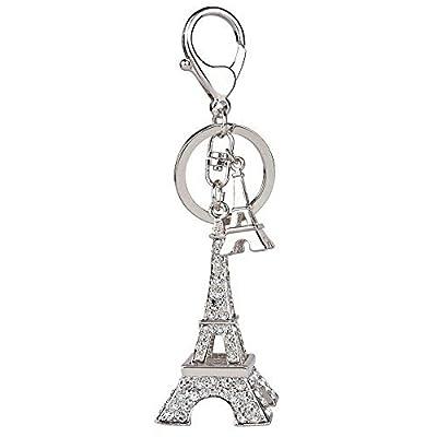 3D Handmade Bling Crystal Cute Keychain Rhinestone Keyring for Purse Bag Charm Car Key (Eiffel Tower-Silver)