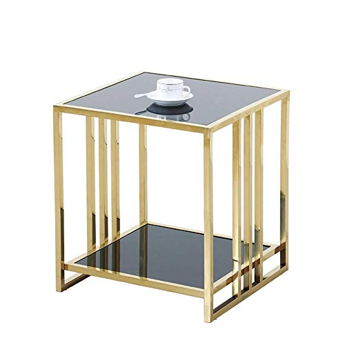 Bijzettafel,salontafel,koffietafel Roestvrij staal kleine vierkante glazen Small Side Table Coffee Table Modern Minimalist bijzettafeltjes Sofa theetafel (Size : 40 * 40 * 40cm)