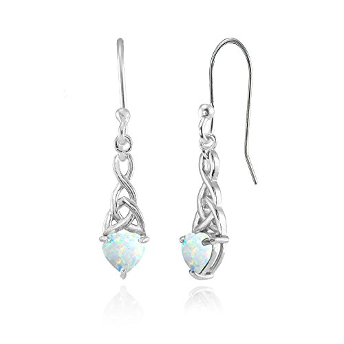 Sterling Silver Simulated White Opal 6x6mm Dainty Heart Celtic Knot Dangle Earrings