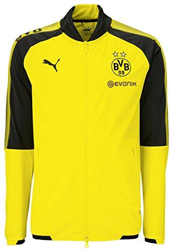 PUMA Herren BVB Poly Jacket Sponsor Logo 2 Side Pockets with z Jacke, Cyber Yellow Black, S
