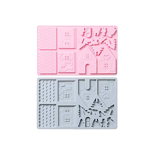 Molde De Silicona Para Pastel, 2 Piezas,Molde Para Galletas De Chocolate De La Casa De NavidadDiy,Casa De Jengibre,Herramientas Para Hornear