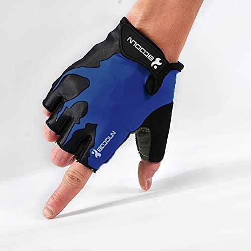 Summer Shockproof Cycling Gloves Half Finger Outdoor MTB Road Bike Bicycle Gloves Sports Mitten for Children Men Women-Blue-2-XL