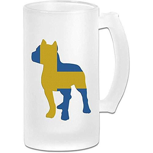 Patriottische Pitbull Zweedse vlag Frosted Glass Stein Beer Mok, Pub Mok, Drank Mok, Gift voor Bier Drinker, 500Ml (16.9Oz)