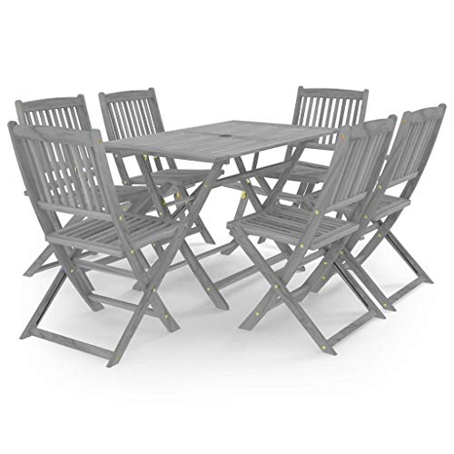 vidaXL Solid Acacia Wood Garden Dining Set 7 Piece Furniture Outdoot Wooden Breakfast Table Desk Chair Seating Seat Garden Patio Grey