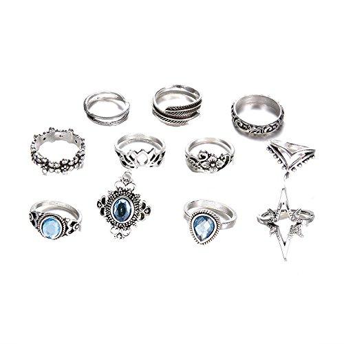 minjiSF Juego de 11 anillos de piedras preciosas para mujer, apilables, bohemios, no se decoloran, anillo de alta calidad único, joya para el día de San Valentín, joyería de fiesta (plata)