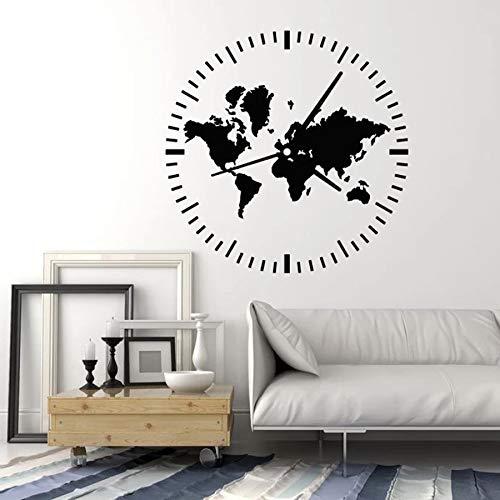 WERWN Reloj Tatuajes de Pared Viajes Turismo Mapa del Mundo Abstracto Pegatinas de Ventana de Vinilo Sala de Estar Dormitorio decoración del hogar Arte Mural Creativo