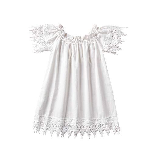 Newborn Toddler Baby Girls Lace Boho Linen Dress Off Shoulder Casual Sundress (White, 6T-7T)