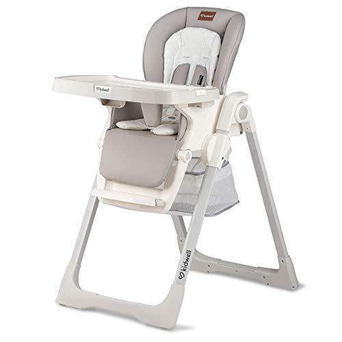 KIDWELL PRIME Kinderhochstuhl mit Tablett | 107 cm hoch | höhenverstellbar mit 3 Positionen Rückenlehne | zusammenklappbar | zum Füttern | Belastung bis 15 kg | ab 3 bis 36 Monaten | Grau