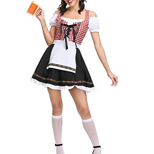 Trachtenkleid Damen Oktoberfest, Weant Damen Trachtenkleid Plaid Kleid Midi für Oktoberfest Dirndl Kleid Trachtenkleid Kleid Bluse Schürze Oktoberfest Spitzenschürze Mittelalter Kleidung (Rot)