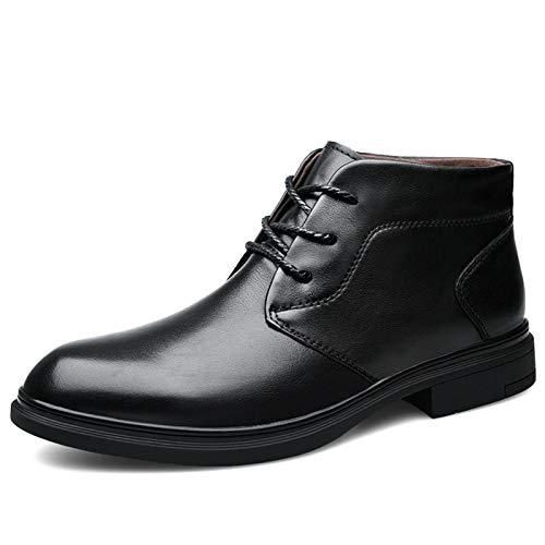 Gym Botas De Tobillo for Hombres Botas Chelsea Tirar En Cuero Genuino Toe Redondo Encaje up Caucho Sole Casual Loafer (Color : Black(Faux Fleece Inside), Size : 40EU)