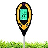 Soil Tester Moisture 4-in-1 Meter PH Levels Temperature Sunlight Lux Intensity Measuring Tool LCD Display for Garden Farm Lawn Indoor Outdoor Plant, Yellow