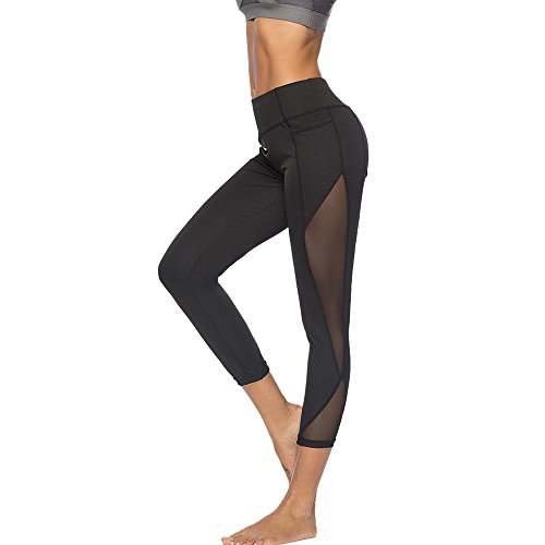 NINGSANJIN Damen Leggings Yoga Sport Pants Lang High Waist (Schwarz,XL)