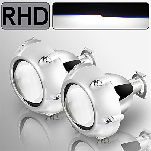 Bandas de faros del coche 2 unids Xenon HID de 2.5 pulgadas Lente del proyector BI universal para H4 H7 H8 H8 H8 H11 Motorcycle Footlight Proyector de faros (Color : 2pcs GTI Shroud RHD)