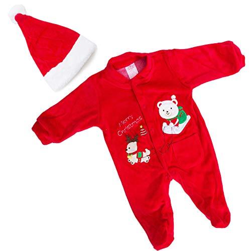 Toocool - Bambino Bambina Unisex Neonato Tutina Natale Cappellino Pagliaccetto DJ-862 [0/3,Rosso]