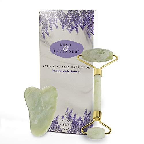 Jade Roller and Gua Sha Set by Lush and Lavender - Wrinkle Anti-Aging Treatment – Jade Face Roller Detox - Face Eye Body Neck Massage - Beautiful Facial Roller Tightening - Real Jade Stone