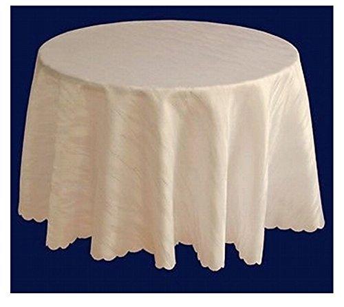 Ilkadim Damast Tischdecke 160 cm rund Creme aus 100% Polyester Bügelfrei und Flecken abweisend (Größen auswählbar)