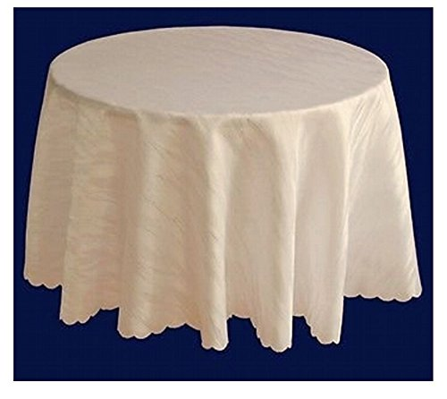 Ilkadim Damast Tischdecke 120 cm rund Creme aus 100% Polyester Bügelfrei und Flecken abweisend (Größen auswählbar)