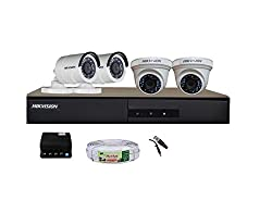 Hikvision Full HD (2MP) 4 CCTV Camera & 4Ch.Full HD DVR Kit (All Accessories),Hikvision,DS-7A04HGHI- F1/ECO